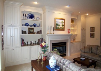 Bisque Family Room Built-In Cabinets