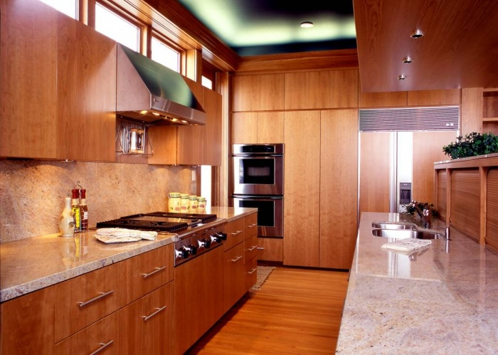 Bookmatched Cherry Veneer Modern Contemporary Kitchen ...